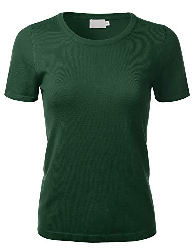 FLORIA Women's Soft Basic Crew Neck Pullover Short Sleeve Knit Sweater Olive M