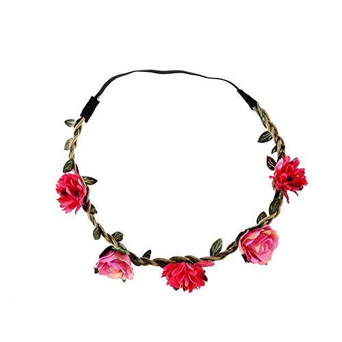 YAZILIND multicolor Margarita flor diadema corona con ajustable elástico de la flor del pelo niñas niños rosa rojo
