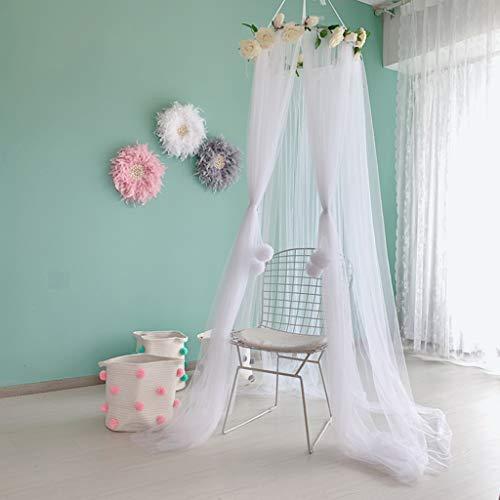 Zrshygs Cama de bebé Mosquitera de malla para niños ropa de cama redonda para colgar la cubierta de la cama de la cortina de la tienda de campaña
