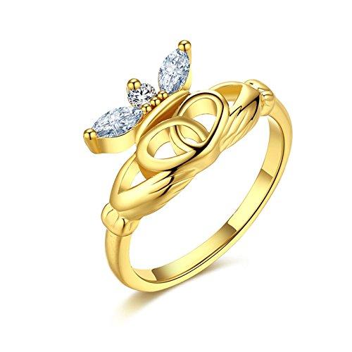 Gnzoe Schmuck Gold Claddagh Verlobungsringe Vertrauensring Damen Ringe Krone CZ Gold Gr.57 (18.1)