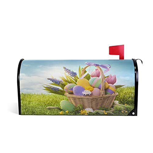 ALAZA Easter Eggs and Lavender in Basket Magnetic Mailbox Covers Mail Wraps Post Letter Box Cover Standard Size for Garden Yard Outdoor Decorations 21x18 Inch