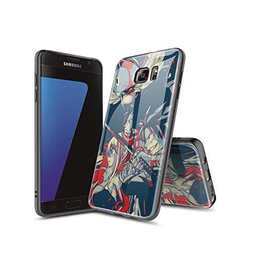 XiASoNFu Compatible con Samsung Galaxy S7 Edge Funda, Carcasa Protectora de Cristal Templado con Tapa Trasera, Dureza 9H, Marco de TPU Flexible Case Cover para Samsung Galaxy S7 Edge #A008