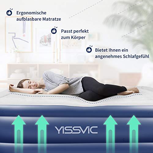 Yissvic Luftbett Luftmatratze Aufblasbare Gästebett mit Eingebaute Elektrische Pumpe Queen Size 203 x 152 x 45cm