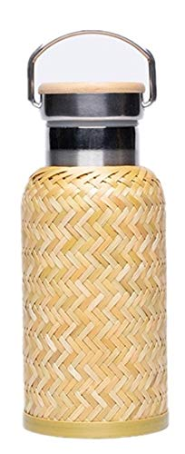 Water Bottle Insulated with Lid Coffee,Chinese Traditional Handmade Bamboo Weaving,ClassicalDesign, Double Wall,304 Stainless Steel,Best Gift for Tea Lovers-350ml