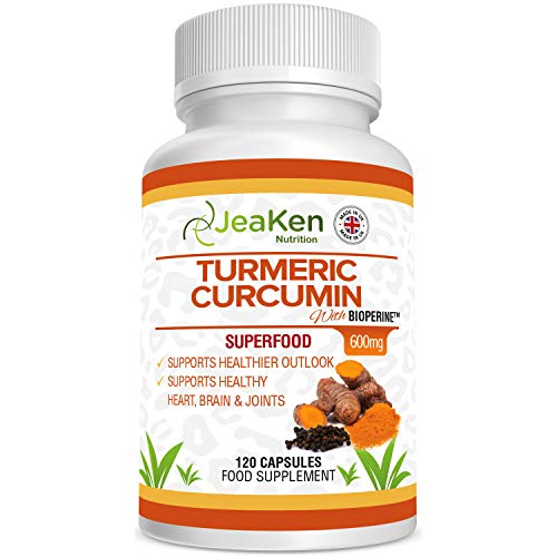 Turmeric Capsules with BIOPERINE by JeaKen - 120 x 600mg Turmeric Capsules High Strength from Turmeric Powder - Tumeric Capsules with Curcumin and Black Pepper - Joint Fuel and Joint Care Supplement