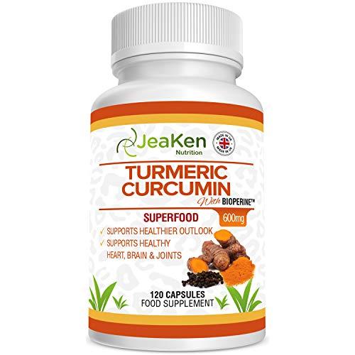 TURMERISCHE CAPSULES MET BIOPERINE Door JeaKen - 120 x 600 mg kurkumacapsules met hoge sterkte van kurkumapoeder - Tumerieke capsules met curcumine en zwarte peper - supplementaire brandstof en gewrichtsverzorging