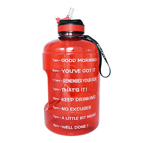 BuildLife Gallon Motivational Water Bottle with Time Marked to Drink More Daily and Nozzle,BPA Free Reusable Gym Sports Outdoor Large(128OZ) Capacity(Red, 1 Gallon)