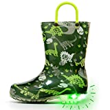 Outee Kids Toddler Boys Rain Boots Waterproof Light Up Lightweight Green Dinosaur Cute Lovely Funny Print with Easy-On Handles Classic Comfortable (Size 13,Green)
