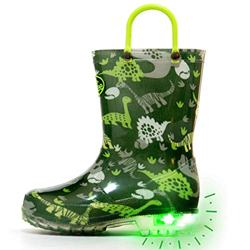 Outee Boys Kids Rain Boots Light Up Waterproof Lightweight Green Dinosaur Cute Lovely Funny Print with Easy-On Handles Classic Comfortable (Size 1,Green)