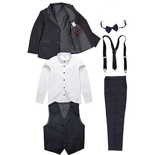 6pcs Jungen schwarzer Anzug Kinder Geburtstag Smoking Formale Blazer Shirt Hochzeit Party Outfits, schwarzer, 110