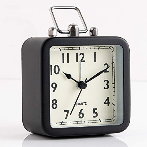 Clopkg Creative wekker, Student Children's Clock Bedside Metallic Plein Quartz Klok, Silent Movement, Wit/Bule (Color : Black)