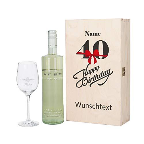 Herz & Heim® Bree Wein-Geschenk zum 40. Geburtstag mit graviertem Weinglas und Bree Wein zur Auswahl in Präsentbox Weiß