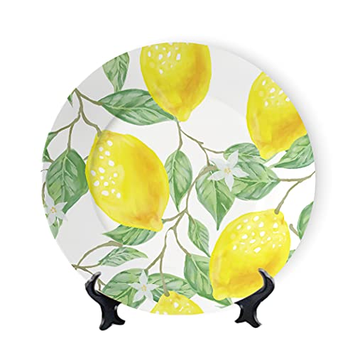 MOOMOO Yellow Lemon Ceramic Decorative Plate Watercolor on Table Stand Floral Print Decor Dinner Plates Ceramic Ornament Tray Home&Office Gift Wall Decors