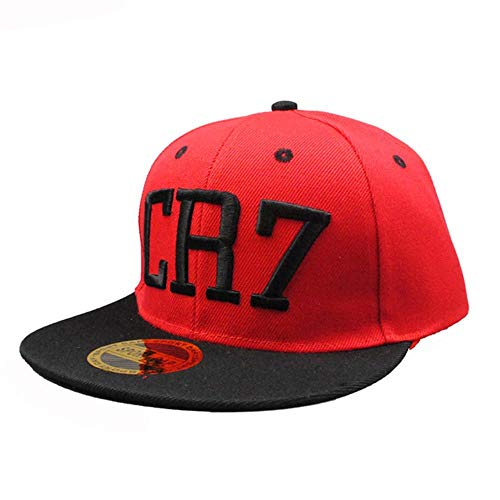 WULIAN Klassische Kinder Cr7 Stickerei Baseball Caps Cristiano Ronaldo Snapback Hip Hop Hut für Kinder, Rose Red, 50-55Cm