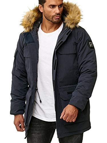 Redbridge Abrigo Invernal para Hombre Capote Chaqueta con Capucha Azul S