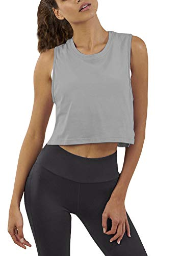 Mippo Crop Workout Tops for Women Cropped Muscle Tank Sleeveless Workout Shirts Flowy Sports Gym Tank Tops High Neck Workout Crop Tops Loose Fit Gray XS