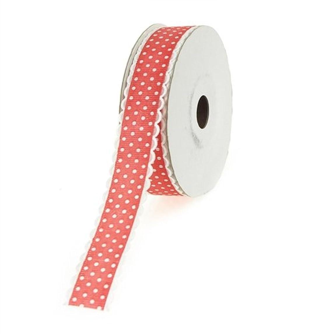 Homeford Firefly Imports Polka-Dot Polyester Ribbon Scalloped-Edge, 7/8-Inch, 25 Yards, Hot Pink 7/8