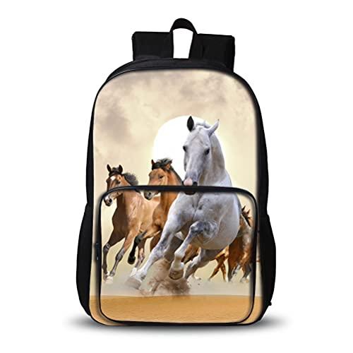 3D Mochila para niños Caballo 3D estilos populares mochila luz al aire libre elegante bolsa de senderismo conveniente para niños de escuela y niñas bolsa de escuela escolar portátil bolsa de viaje esc