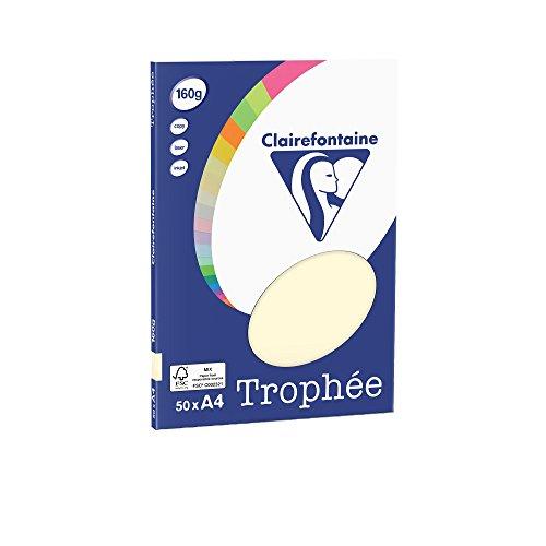 Clairefontaine 4154C Druckerpapier Trophée PPP, für alle Laserdrucker, Kopierer und Tintenstrahldrucker, DIN A4 (21 x 29,7 cm), 160g, 1 Ries mit 100 Blatt, Elfenbein