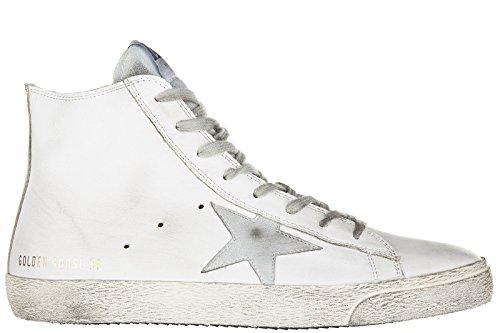 Golden Goose scarpe sneakers alte uomo in pelle nuove francy bianco