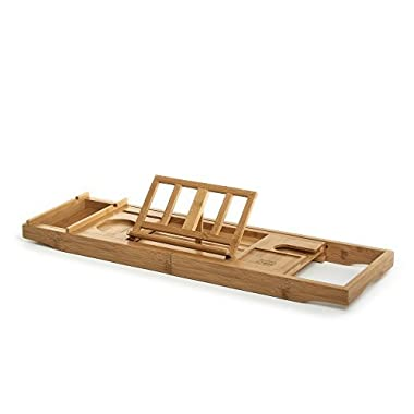 Prosumer's Choice Bamboo BathtubCaddy withExtra-Long Sides and Built-inPhone/Tablet and WineGlassHolder