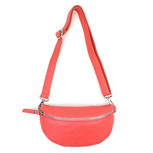 Made in Italy OBC Damen Leder Tasche Gürteltasche Crossbody Hüfttasche Bauchtasche Hüfttasche Umhängetasche Cross-Over Bodybag Schultertasche Handytasche Geldtasche Wassermelone
