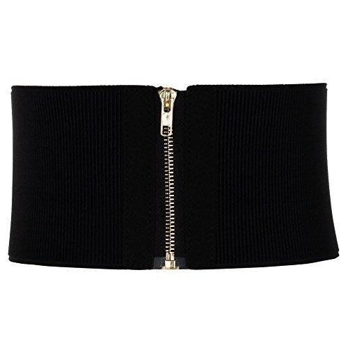 Cheerlife Damen Stretchgürtel 12cm Breiter Elastischer Wickelgürtel Hohe Taille Bindegürtel mit Reißverschluss Hemd Kleid Dekoration (Schwarz)