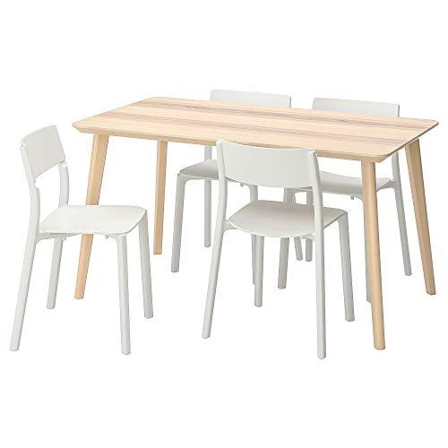 LISABO/JANINGE Tisch und 4 Stühle 78x74 cm Eschenfurnier / Weiß