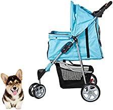 Lucky Tree Pet Jogger Stroller for Small Dog Cat Travel Carrier Cart Cage with 3 Wheels, Easy Walk for Jogging, Blue