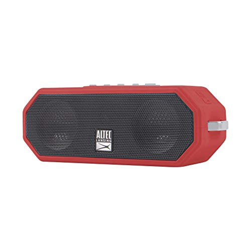 Altec Lansing Bluetooth Speaker, Wireless, Waterproof, Portable, Speakers, Loud Volume, Strong Bass, Rich Stereo System, Microphone, 10 Hour Battery, 100 ft Wireless Range, IP67, Rugged, Red