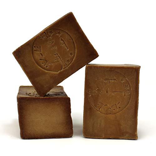 Jabón de Alepo 3 piezas - Aceite de Oliva y Aceite de Laurel 25% - Método tradicional - Alepo puro y natural, receta original