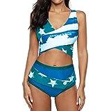 Jmsc Strandkleider Damen Bikini Gedruckt High Waist Bikinihose Cover Up Badeanzug Damen Bademode Tankinis Elegant Sommerkleid Schwimmanzug Sommer Strandmode XXL