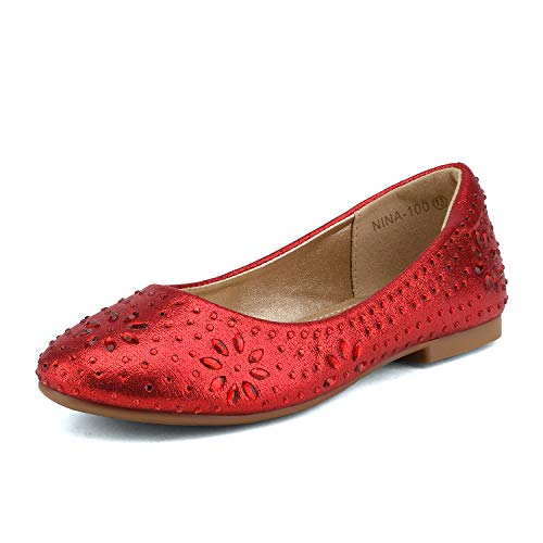 DREAM PAIRS Toddler Nina-100 Red Girls Dress Shoes Classic Ballet Flats - 10 M US Toddler