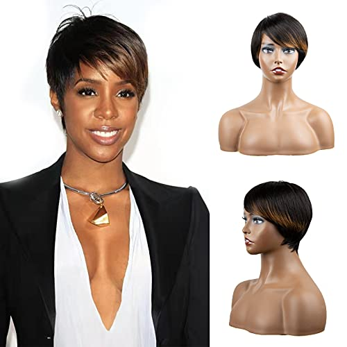 MAKATI Pixie Cut Wig With Bangs For Black Women Human Hair Wigs, Short Wigs Pixie Cut Wigs For Black Women Human Hair Wigs With Bangs ,Ombre Wig None Lace Front Human Hair Pixie Cut Wigs(1B/30#)