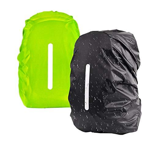 KATOOM 2er Regenhülle Rucksack Schulranzen Regenschutz wasserdichte Regenüberzug Ranzen Rucksackschutz für Outdoor Camping Wandern mit Reflektorstreifen Sicherheitshülle (schwatz+grün, M 30L-45L)