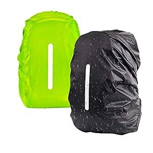 41 nEMcoMeL. SS300  - KATOOM Funda de Lluvia de Mochila 30-40L 2pcs Cubierta Impermeable para Saco de Viaje con Tira Reflectante Cubierta de Seguridad a Prueba de Polvo y Agua Ciclismo Aventura Camping Viaje Negro y Verde