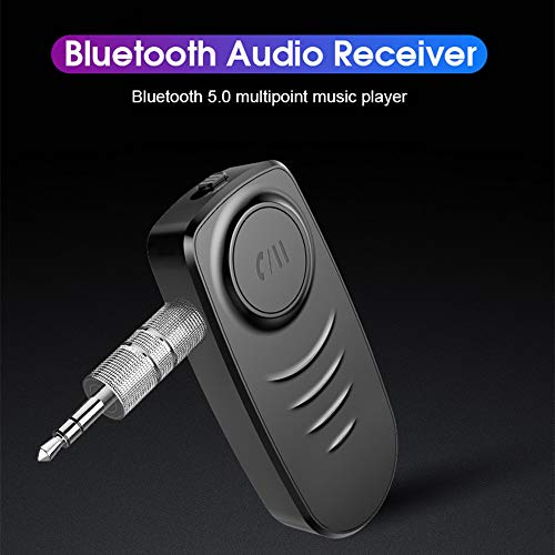 Aux Bluetooth Adaptor, YOSHINE Portable Car Bluetooth Receiver & Bluetooth Car Aux Receiver for Music Streaming Sound System, Hands-Free Audio Adapter & Wireless Car Kits for Home/Car Audio System