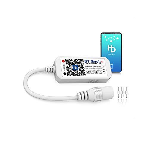 Arote RGB LED Controller Bluetooth, App gesteuert, Dimmer Steuerung für Android/IOS System, LED Strip Streifen Lichterkette, 5V 12V 24V, 16 Millionen Farben, Sound Aktiviert