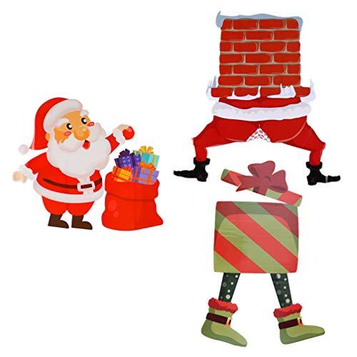 Yardwe 3Pcs Christmas Yard Stakes Signs Santa Elf Christmas Lawn Decors Christmas Garden Stakes Winter Wonderland Ornaments