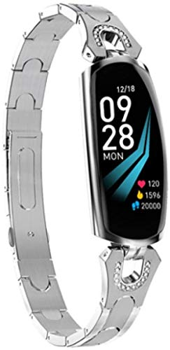 Reloj inteligente fitness tracker señoras moda pulsera inteligente-plata