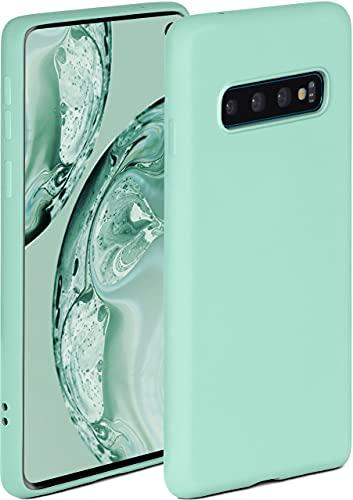 ONEFLOW Soft Hülle kompatibel mit Samsung Galaxy S10 Hülle aus Silikon, erhöhte Kante für Displayschutz, zweilagig, weiche Handyhülle - matt Mint