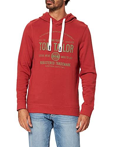 TOM TAILOR Męska bluza z kapturem, 26006 – Chili Oil Red, XL