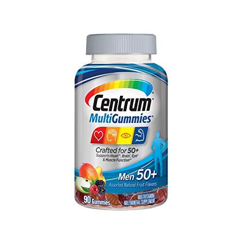 Centrum MultiGummies Gummy Multivitamin for Men 50 Plus, Multivitamin/Multimineral Supplement with Vitamins D3, E, B6, and B12, Assorted Fruit Flavor - 90 Count