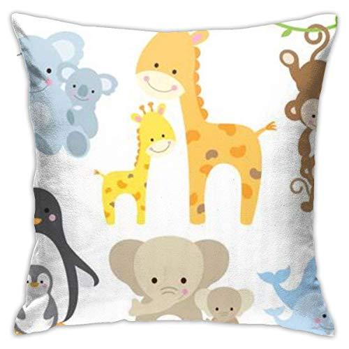 Animal Koalas Penguins jirafas monos elefantes funda de almohada, impresión de doble cara, funda de almohada con cremallera oculta, 18 pulgadas hermoso patrón impreso almohada