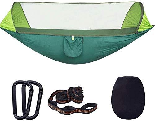 Dubbele kampeerhangmatten, hangmatten met muskietennetten, schaduw in de buitenlucht voor picknickreizen