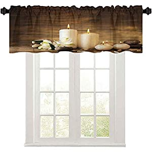 Crib Bedding And Baby Bedding Light-Filtering Curtain Valance, Winter Valentines Day Couples Themed Candle Flowers And Stones Image Print, Blackout Valances Curtain For Small Window, White Black Brown