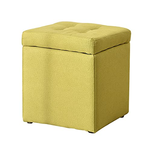 Cube Ottoman Pouf With Storage Box, 30x30x35cm, Multifunctional Sofa Pouf Upholstered Footstool, Linen Fabric, Rectangle Footrest Padded Seat, For Living Room, Bedroom, Dressing Table, Foot Stool