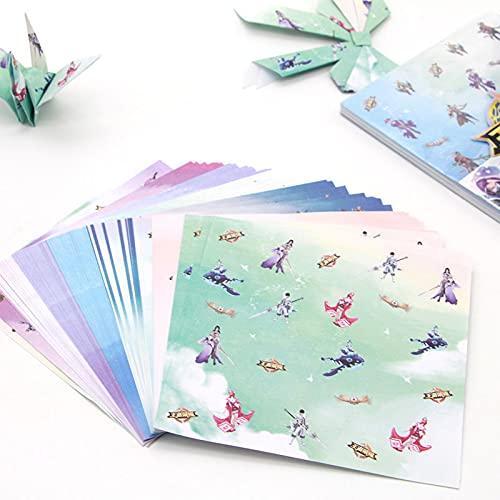Papel picado 80pcs Scrapbook Crafts Cuadrado Origami Papel King Glory Hero Imprimir Mano Plegable Niño Origami Material BRICOLAJE Atasco de papel de papel de color Color puro ( Color : As shown )