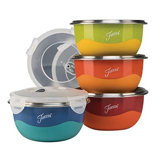 Fiesta Prep 8-Piece Microwave Safe Bowl & Lid Set