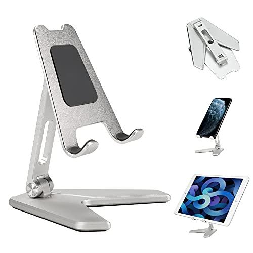 Soporte para teléfono celular, soporte plegable de aluminio, soporte de tableta, ángulo de altura ajustable para escritorio, compatible con iPhone Samsung todos los smartphones